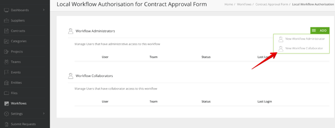 Choose to add a new collaborator within workflow authorisation