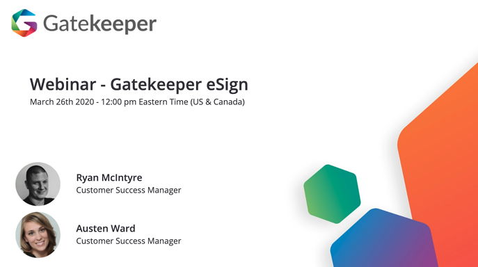 Gatekeeper eSign Webinar March 2020