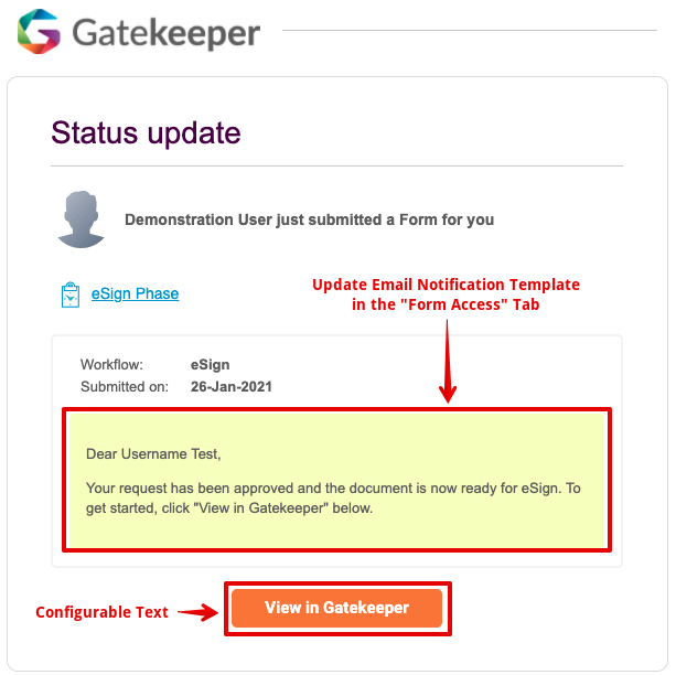 Initiate eSign   Email Notification