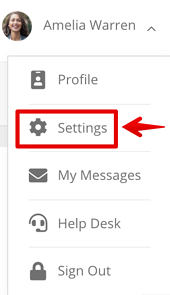 My Account | Settings Menu