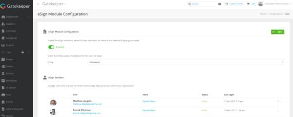eSign Entity Configuration Screen