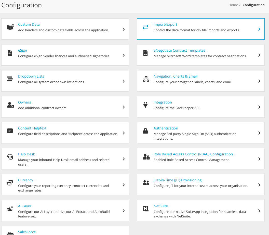 Configuration Overview Page